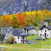 Alpine Village In Autumn Art Print