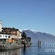 Alpine Village On The Lake Front Art Print