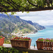 Amalfi Coast Vista From Under A Trellis Art Print