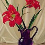 Amaryllis Lillies In A Dark Glass Jug Art Print