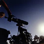 Amateur Astronomer Observing A Solar Eclipse Art Print