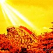 #amazing Shot Of A #rollercoaster At Art Print