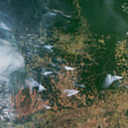 Amazon Basin Forest Fires, Satellite Art Print by NASA / Science Source