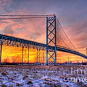 Ambassador Bridge Sunrise 1-16-2012  Detroit Mi Art Print