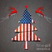 America X'mas Tree Art Print by Atiketta Sangasaeng