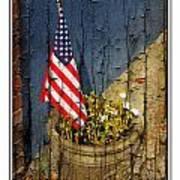 American Flag In Flower Pot - 1 Art Print