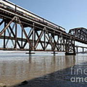 Amtrak Train Riding Atop The Benicia-martinez Train Bridge In California - 5d18829 Art Print