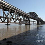 Amtrak Train Riding Atop The Benicia-martinez Train Bridge In California - 5d18830 Art Print