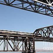 Amtrak Train Riding Atop The Benicia-martinez Train Bridge In California - 5d18835 Art Print
