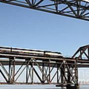 Amtrak Train Riding Atop The Benicia-martinez Train Bridge In California - 5d18837 Art Print