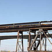 Amtrak Train Riding Atop The Benicia-martinez Train Bridge In California - 5d18839 Art Print