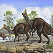 Amurosaurus Riabinini Dinosaurs Grazing Art Print