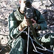 An Army Ranger Sets Up An Anpaq-1 Laser Art Print
