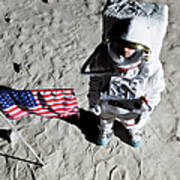 An Astronaut On The Surface Of The Moon Next To An American Flag Art Print by Caspar Benson