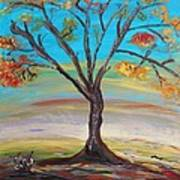 An Autumn Locust Tree Art Print