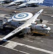 An E-2c Hawkeye Lands On The Flight Art Print by Stocktrek Images
