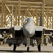 An F-15 Eagle Taxis Prior To A Training Art Print