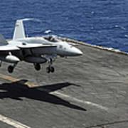 An Fa-18c Hornet Lands Aboard Art Print
