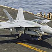 An Fa-18e Super Hornet Trap Landing Art Print