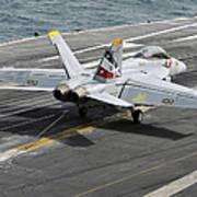 An Fa-18f Super Hornet Traps An Art Print