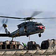 An Mh-60s Sea Hawk Lifts Cargo Art Print