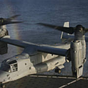 An Mv-22 Osprey Prepares To Land Aboard Art Print