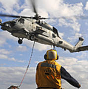 An Sh-60b Sea Hawk Helicopter Releases Art Print