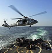 An Sh-60r Sea Hawk Delivers Pallets Art Print