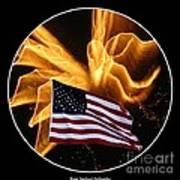 Angel Fireworks And American Flag Art Print by Rose Santuci-Sofranko
