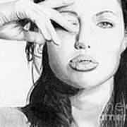 Angelina Jolie Pencil Art Art Print