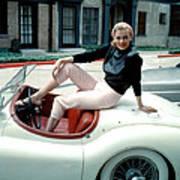 Anita Ekberg, On Her Jaguar, Late 1950s Art Print by Everett