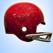 Antique Football Helmet On Blue Background Art Print