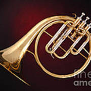 Antique French Horn On Deep Red Art Print