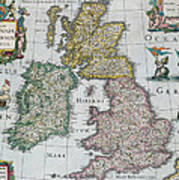 Antique Map Of Britain Art Print by English School