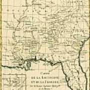 Antique Map Of Louisiana And Florida Art Print by Guillaume Raynal