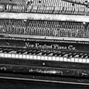 Antique Piano Black And White Art Print