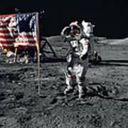 Apollo 17 Astronaut Salutes The United Art Print