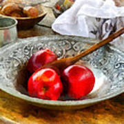 Apples In A Silver Bowl Art Print by Susan Savad