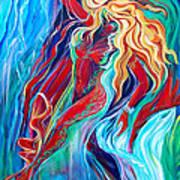 Aqua Rain Art Print