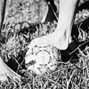 Argentinian Hispanic Men Start A Football Game Barefoot In The Park On Grass Art Print by Joe Fox