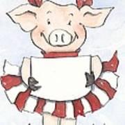Arkansas Razorback Cheer Piggy Art Print by Annie Laurie
