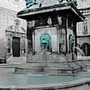 Arles Fountain With A Spot Of Color Art Print