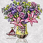 Arrangement In Pink And Purple On Rice Paper Art Print