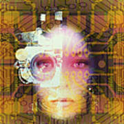 Artificial Intelligence: Face And Circuit Board Art Print by Mehau Kulyk