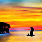 Artistic Conception Eagle Sundown Art Print