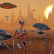 Artists Concept Of Life On Mars Long Art Print