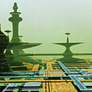 Artwork Of An Alien City On A Circuit Board Art Print