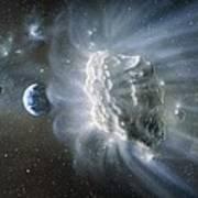 Artwork Of Comet Approaching Earth Art Print