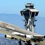 Asiana 747-400 And Lax Tower Art Print