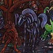 Asil At The Forest Lord's Midnight Gathering In Shitaki Art Print by Al Goldfarb